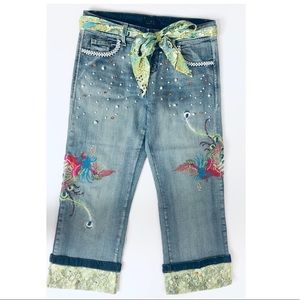 STYLE Luxury Hand-Embroidered Cropped Denim Pants